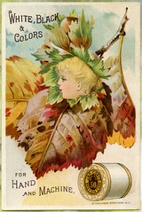 J&P Coats Thread Trade Card, Fall Leaves (danagraves) Tags: fallleaves vintage illustrations ephemera collectible sewingthread tradecard blondgirl vintagetypeface