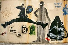 Jef Aerosol (dprezat) Tags: street paris art tag graf spray peinture charlot bombe pochoir jefarosol pitr arosol sonyalpha700 saintpitr jumpingplayer sittingfluteplayer
