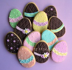 Easter Egg Cookies (Three Honeybees) Tags: flowers easter cookie chocolate pastel egg sugar icing vanilla cutter polkadot fondant threehoneybees