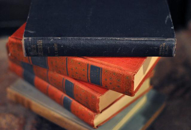 vintage books stacked, DSC_0305