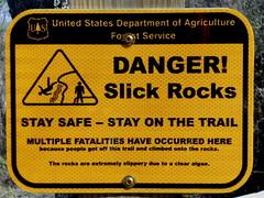 Danger! Slick Rocks (Star Mountain Media) Tags: danger trail multiple safe algae stay fatalities slickrocks behindthescenesbtsdanieldragonfilmscrabtreefalls