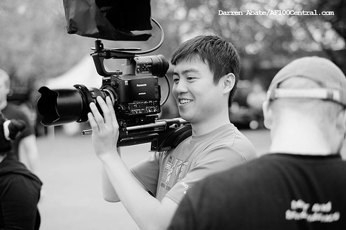 Yuta sets up a shot with the AF100