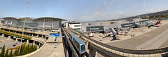 subsonic travelers (pbo31) Tags: california panorama motion airport parkinggarage sfo gates garage over perspective terminal panoramic airtrain airline bayarea qantas britishairways 747 millbrae sanfranciscointernationalairport internationalterminal virginamerica