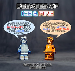 THE MARVEL DEBATES #1: Ice and Fire [A DAY IN THE LIFE] (agoodfella minifigs) Tags: lego marvel marvellego legomarvel minifigures marvelcomics comics heroes legosuperheroes legomarvelsuperheroes legofantasticfour legoxmen minifigure moc marvelheroes iceman humantorch debates