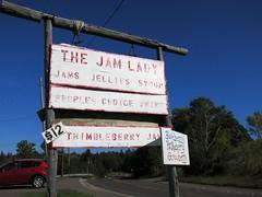 IMG_3011 The Jam Lady sign (jgagnon63@yahoo.com) Tags: jamlady thejamlady florencemihelcich eagleriver michigan keweenawpeninsula keweenawcounty upperpeninsula wwwpastycomjamladythestore jamsandjelly sign signboard jamandpreserves wildberry