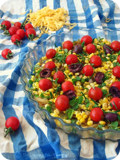 Cherry Tomato, Sweetcorn & Olive Tart b-w