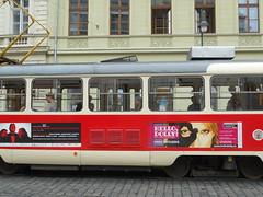 Prague Tram (DekingDachshund) Tags: old red republic czech prague tram praha scene system na cobblestone nmst streert prahy republiky streettram dopravn msta podnik porici hlavnho
