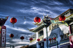 Chinatown Gothic (Stephen Lee Carr) Tags: china california street travel sky clouds canon vintage walking eos rebel evening losangeles nikon asia chinatown raw noir walk gothic gritty adobe stroll vivitar hdr lightroom aftereffects photomatix 550d t2i