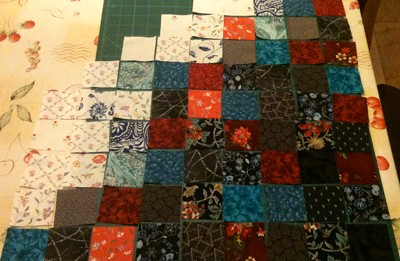 Squares cut and ready to piece