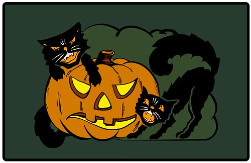 Pumpkin Cat Fight (vector version)