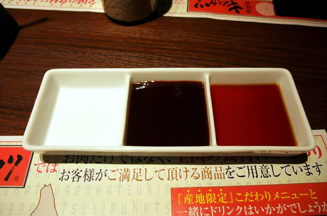 Dipping Sauces: Salt, Tonkatsu Sauce and Shoyu