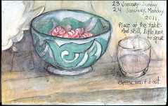 Chill space. 23-24 January, 2011. (Sharon Frost) Tags: stilllife art ceramic table candy haiku patterns paintings drawings cups sketches bowls tops sketchbooks journals peppermints sharonfrost daybooks