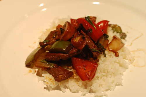 Basil, beef and vegetable stir fry