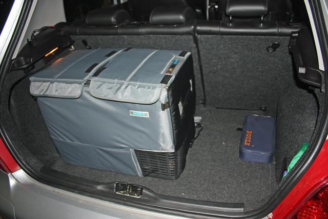 Waeco CFDZ Dual Zone Fridge in the car boot by sridgway