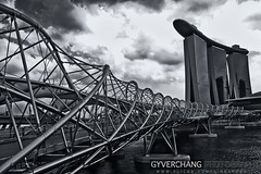 Marina Bay Sands in B/W (gyverchangphotos) Tags: road bridge black colors clouds skyscraper marina bay singapore asia skies south casino double east helix sands prosperity integratedresort theunforgettablepictures platinumheartaward mygearandmepremium