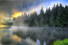 Sunrise Over Trillium Lake Oregon - HDR (David Gn Photography) Tags: morning trees sky sun mist lake reflection nature grass clouds oregon sunrise lights trillium early glow hiking foggy parks trails peaceful tranquility evergreen national rays wilderness heavenly soe hdr 3xp platinumheartaward canoneos7d sigma1020mmf35exdchsm platinumpeaceaward mygearandme mygearandmepremium mygearandmebronze sigma50th