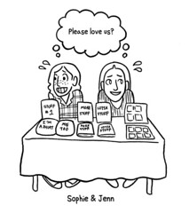 A black and white drawing of Sophie and Jenn at a con table, selling their wares.