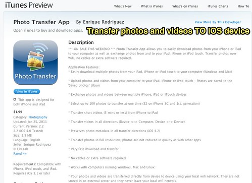 Transfer photos and videos TO iOS device
