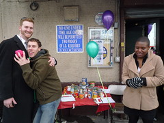 Keith, Intern Paul and Intern Ashleigh (fleepy_99) Tags: charity nyc brooklyn race henry greenpoint idiotarod fooddrive mcgovern 2011 greenpointreformedchurch charitydivision corporationx
