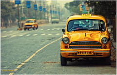 Road Queen (whoisnd) Tags: road india car yellow canon day taxi headlights ambassador kolkata 70200 calcutta tyres idiv