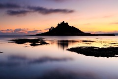 The Mount after Sunset (midlander1231) Tags: longexposure sunset sea england sky color colour castle nature water colors silhouette clouds sunrise evening coast cornwall colours shore refection stmichaelsmount eveninglight marazion