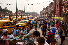 Life is a journey... (whoisnd) Tags: street red india colors yellow taxi crowd wb railwaystation ambassador hm kolkata hdr westbengal howrah