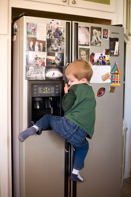 Climbing the fridge (it helps when you put your knee in the water dispenser) to get the magnet that you want.