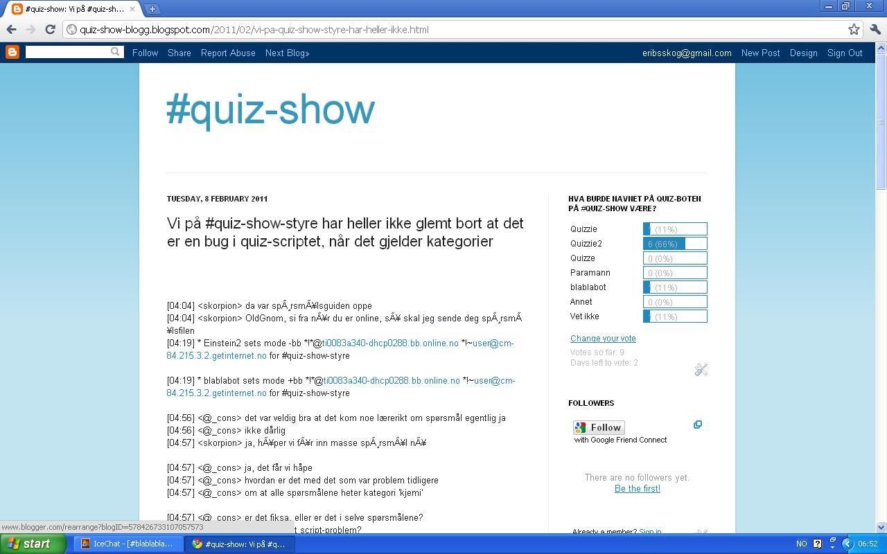 ny bloggpost quiz show bloggen