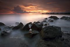 Last minutes (Randi Ang) Tags: sunset beach canon indonesia landscape eos rocks long exposure 5d ang lombok randi senggigi seascap