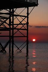 As The Day Fades Away (Ian Lambert) Tags: uk winter sunset sun reflection beach nature water pier seaside northwest dusk ripple tide horizon lancashire upnorth reflexions blackpool irishsea lancs fyldecoast