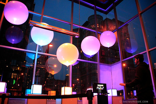 "Today in Vancouver: Miles Thorogood controls ""Kinetic Floating Pixels"" at Illuminate Yaletown"