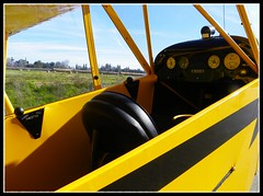 Piper Cub Cockpit (Dusty_73) Tags: classic yellow vintage airplane cub flying interior aircraft seat aviation flight cockpit piper basic j3