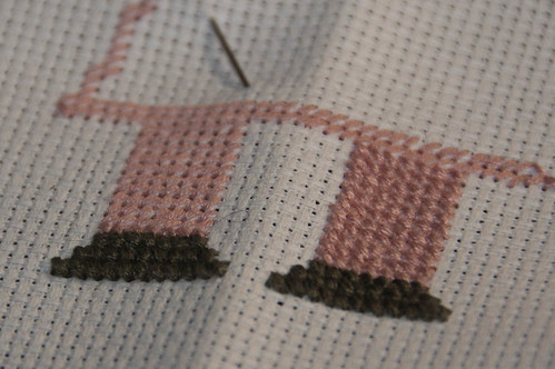 Cross-stitching at the KwartzLab Stitch'N'Bitch.