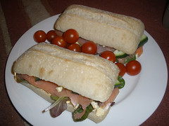 Ciabatta with egg mayo, baby leaf lettuce, smoked salmon, sliced cucumber & cherry tomatoes