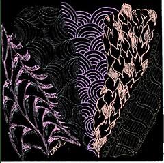 Zentangle gel pen on black (sthillen521) Tags: tile illumination string tangle tangled zentangle