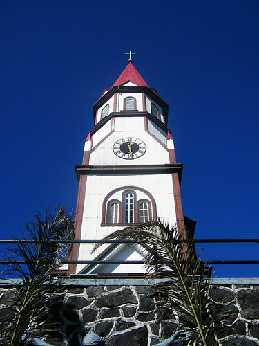 Steeple of Sagrado Corazón de Jesús, Puerto Varas, Chile by katiemetz, on Flickr