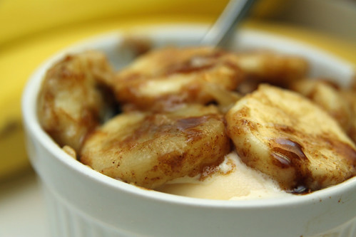 cinnamon spiced bananas on vanilla ice cream
