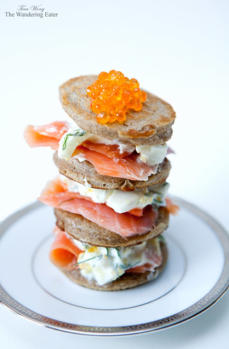 Caviar and Homemade Buckwheat Blini Torte