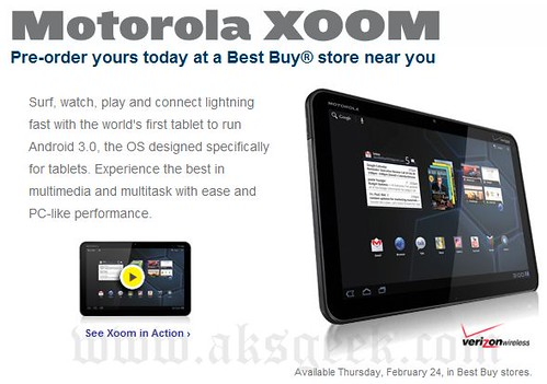 Motorola XOOM available on Thursday Feb 24
