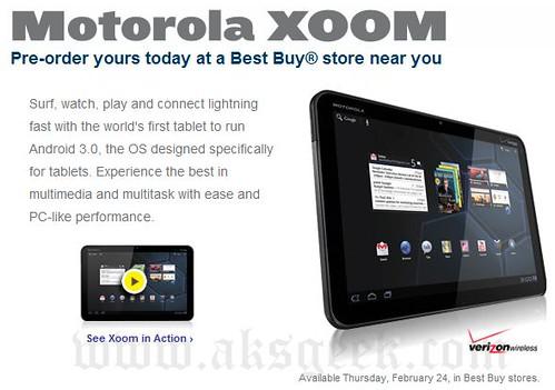 Motorola XOOM available on Thursday Feb 24