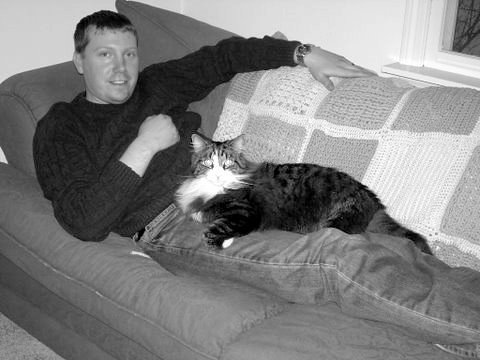 dad & kitty just relaxing