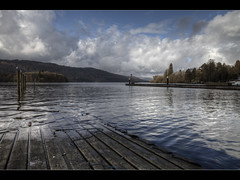 Lake Windermere (Paul Merry) Tags: blue winter lake mountains water glass birds canon reflections eos raw board gulls lakes deck cumbria mooring mk2 5d windermere
