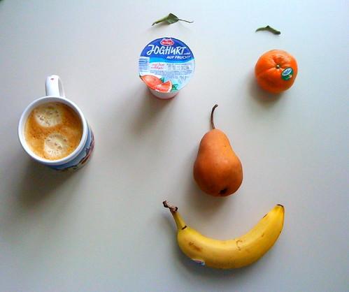 Clementine, Clementine, Banane & Mertinger Joghurt auf Frucht