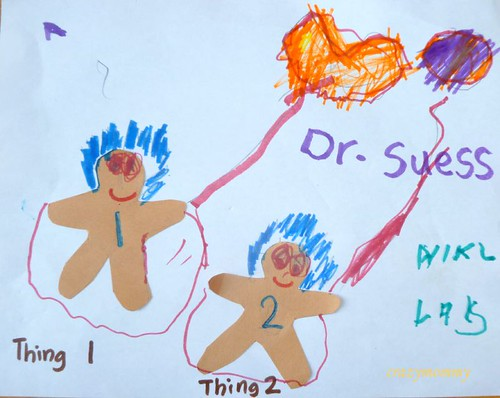 Dr. Seuss craft : Thing 1 and Thing 2