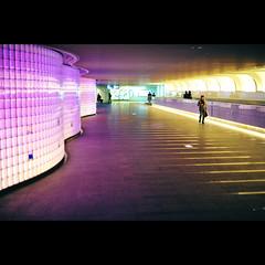 Passing the colors ([~Bryan~]) Tags: light people colors japan underground subway 50mm metro tunnel osaka namba