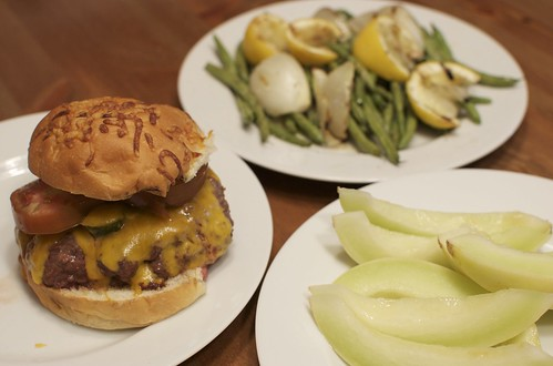 Cheeseburger, Lemony Green Beans and Onions, Melon