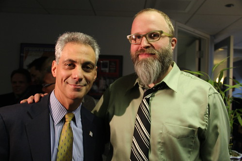Exclusive Photo: Mayor-Elect Rahm Emanuel and Dan Sinker, Author of the @MayorEmanuel Twitter Account, Arm in Arm in WLS Studios in Chicago