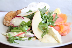 sweet apple salad (lavendars) Tags: morning red food sunlight slr apple coffee cheese breakfast digital canon bread salad cafe day tea toast shaved salmon australia melbourne victoria dressing meal brunch rocket onion capers smoked australasia oceania 500d 18200mm