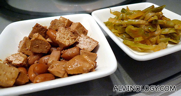 Instead of the usual nuts, picked vegetable and beancurd were served as table snacks