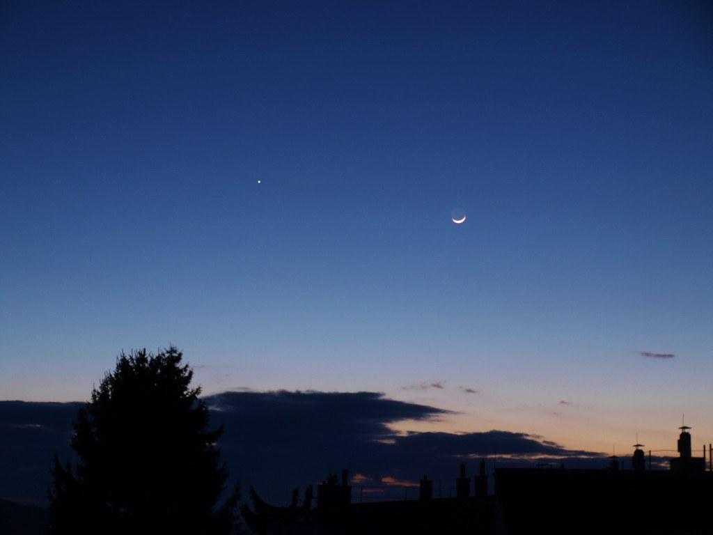 Mond und Jupiter, 6.März 2011, 18:25 MEZ